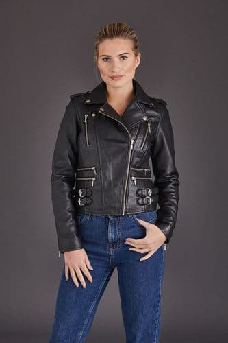 Ladies Leather Biker Jacket Black